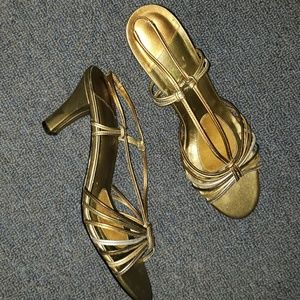 Shoes - Womens Gold Designer Sandles